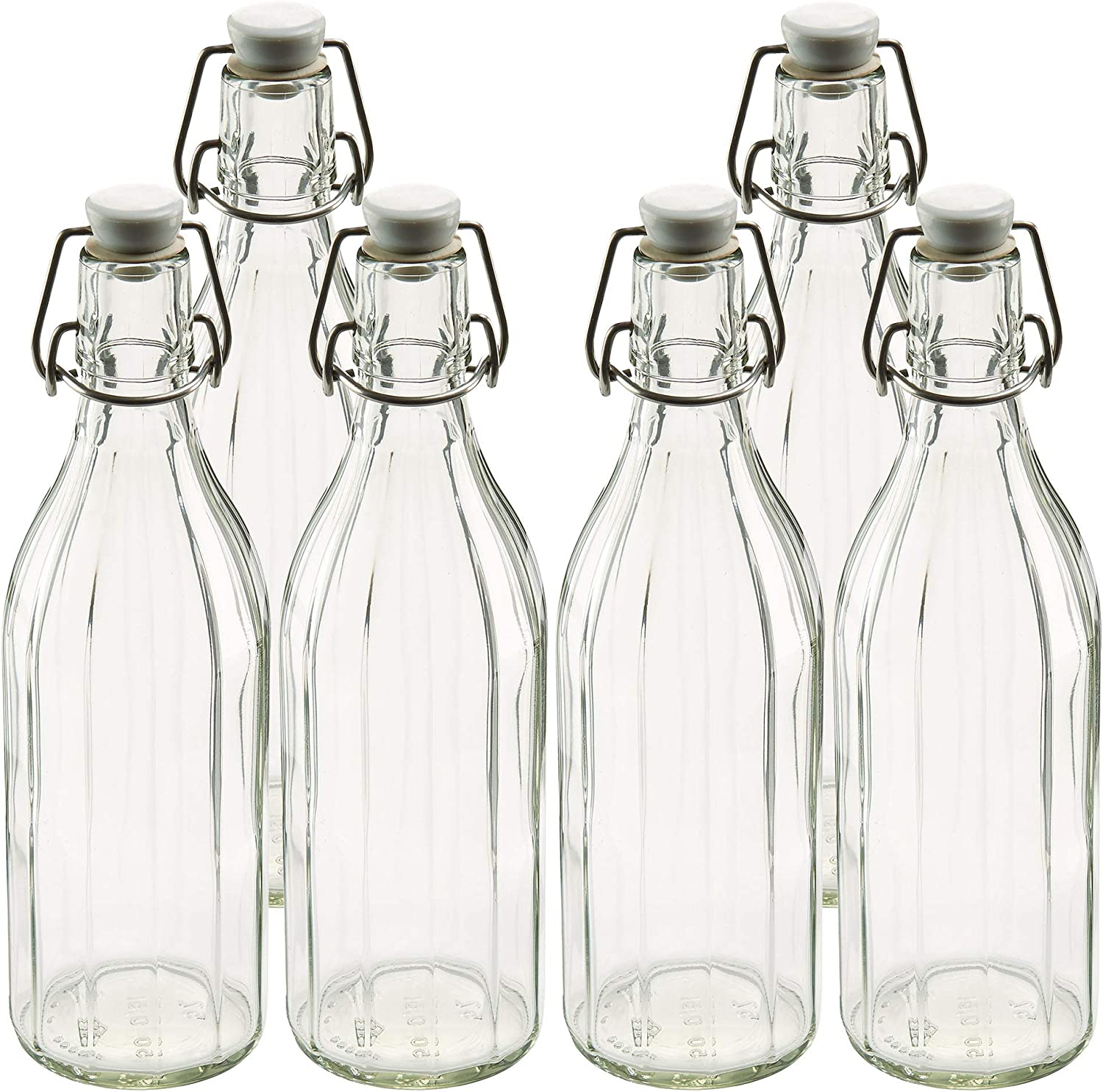 Dealing full price reduction Leifheit Clear 6 Pack of Reusable Glass Bottles Shackle Loc Ranking TOP10 with