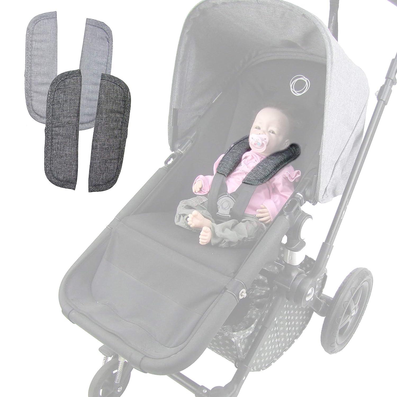 Bambiniwelt Gurtpolster Für Bugaboo Kinderwagen Schulterpolster Universal Dunkelgrau Meliert Baby