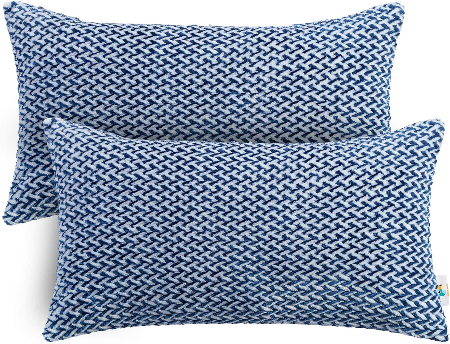 PAULEON Throw Pillow Covers 12x20 Accent Pillows Sofa Perfect for Couch Decorative Cushion Cases Bed Сhevron Pattern Set of 2 Aubergine and White Fluffy Fiber