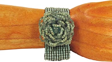 Bali Bay Trading Company Turquoise Color Rose Flower Handmade Beaded Cuff Stretch Bracelet