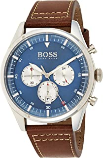 Hugo Boss Mens Quartz Watch, Chronograph Display and Leather Strap 1513709
