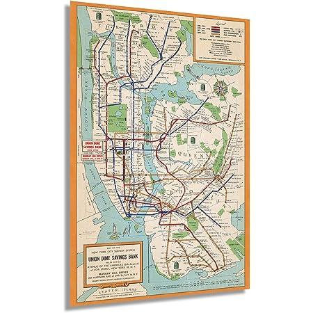 New York City Subway Map Metro Tube MTA Wall Art Poster Print Decor Vintage