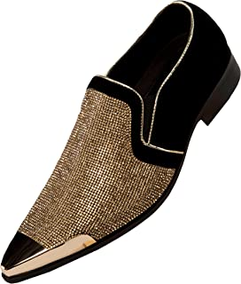 d054a23e71ff Bolano Rhinestone Embellished Vamp & Faux Suede Trim with Metal Tip Smoking Shoe  Style Dezzy,