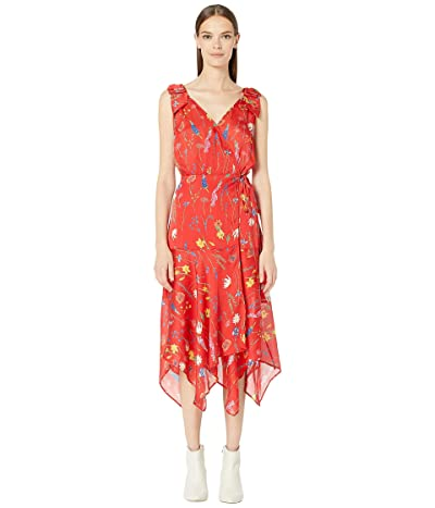 The Kooples Spring Bloom Maxi Asymmetrical Wrap Dress (Red) Women