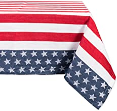 DII CAMZ37420 100% Cotton, Machine Washable, Dinner and Holiday Tablecloth 54x54, Stars & Stripes, Seats 4 People