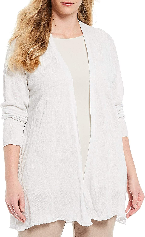 Eileen Fisher Plus Ivory Tencel/Metal Long Cardigan, Size 2X MSRP $278