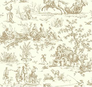 Brown Toile Wallpaper
