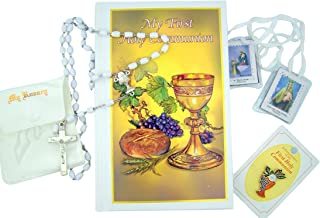 First Communion Gift Set for Girls with Mass Book, Rosary, Scapular, and Lapel Pin