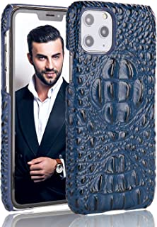 FUZVOL Business Men Leather Cases for iPhone 11 Pro Max, Classic Genuine Leather 3D Crocodile Mobile Phone Protective Covers Compatible with iPhone 11 Pro Max 6.5 Inch 2019 Released, Blue