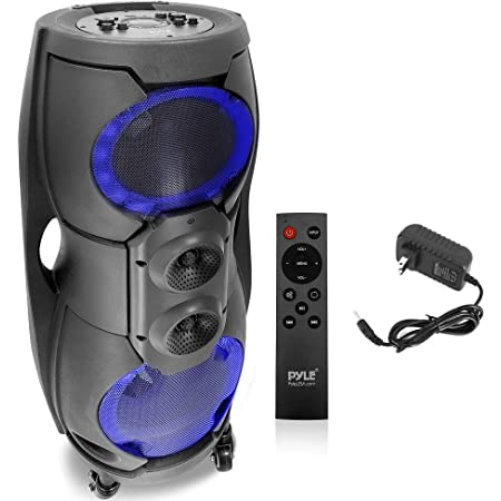 Portable Bluetooth PA Speaker System - 1000W Outdoor Bluetooth Speaker Portable PA System w/TWS, Recorder, Microphone in, Party Lights, USB SD Card Reader, FM Radio, Rolling Wheels - Pyle PPHP82LB