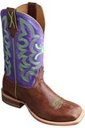 Why0006 Twisted X Womens and Neon Yellow Hooey Cowgirl Boot Square Toe