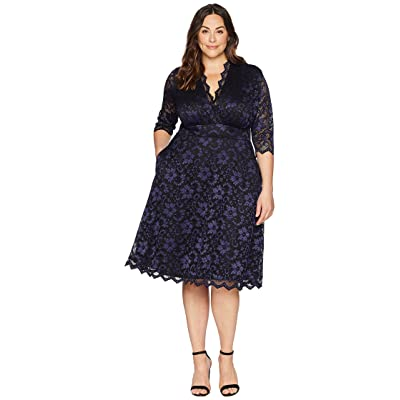 Kiyonna Mon Cherie Lace Dress (Violet Noir) Women