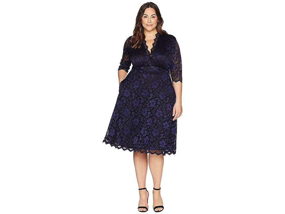 Kiyonna Mon Cherie Lace Dress (Violet Noir) Women