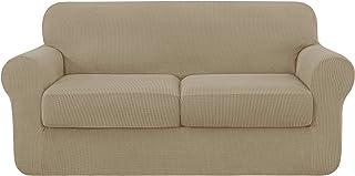 comprar comparacion Subrtex - Funda de sofá extensible con funda de cojín de asiento, protector de sofá con reposabrazos elásticos, beige, 2 p...