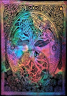 Indian Craft Castle ICC Mind Tree Poster Hippie Decor Tapestry Wall Hanging Dorm Collage Color Me Weed Leaf Bohemian Art Psychedelic Small Hippie Rasta Ganja 30x40 inches