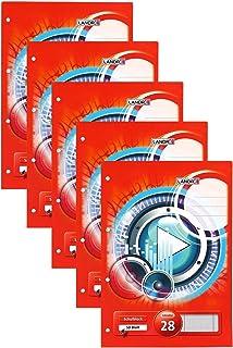 Landre Schulblock, 5er Pack, DIN A4, kariert, 50 Blatt, kopfverleimt, rot