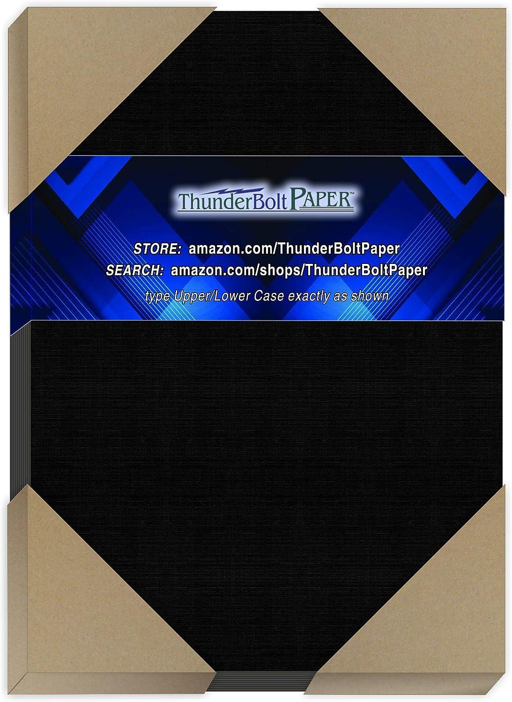 225 Black Linen 80# Cover Paper Sheets 5X7 -5