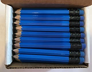 Half Pencils with Eraser - Golf, Classroom, Pew, Short, Mini, Small. Church, Non Toxic - Hexagon, Sharpened, 2 Pencil, Color -(Neon Blue) Colors, Box of 72 Golf Pocket Pencil