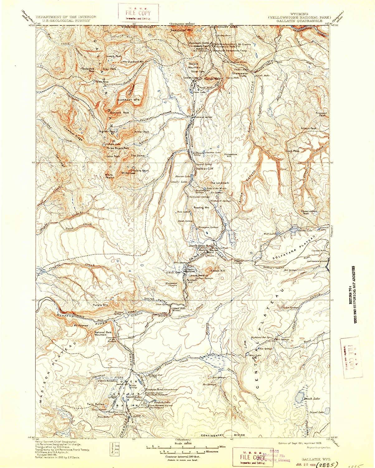 Gallatin WY topo map, 1 125000 Scale, 30 X 30 Minute, Historical, 1911, Updated 1928, 19.9 x 16.1 in