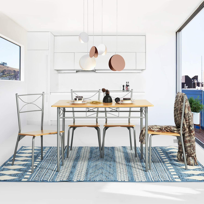 Juego de mesa de comedor con 4 sillas, 5 piezas, conjunto de comedor de metal de madera, cocina moderna, mesa de comedor, conjunto de muebles para 4 personas: Amazon.es: Hogar
