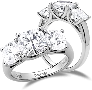 DovEggs Sterling Silver 4ct Center 6mm-7.5mm-6mm Cushion Cut 3 Stone Moissanite Engagement Ring Wedding Band for Women Ban...