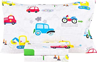 Car Motorcycle Excavator Truck Cotton Cozy Twin Bed Sheet Set, Flat Sheet & Fitted Sheet & Pillowcase Boys Girls Bedding S...