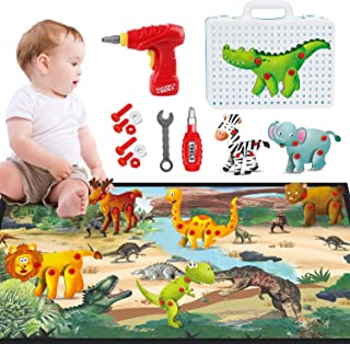 HONYAT 172pcs 3D Building Creative Puzzles Toys Set with 8 Animals Puzzles, Electric Drill, Dinosaurs Mat, Construction Engineering Building Blocks Kids Toy for Toddlers Ages 3 4 5 6 7 8 9 10 Years