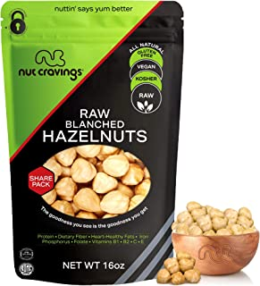 Raw Blanched Hazelnuts Filberts, No Shell (16oz - 1 Pound) Packed Fresh in Resealble Bag - Nut Trail Mix Snack - Healthy P...