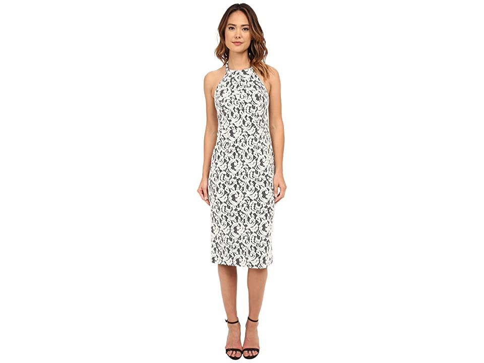 Shoshanna Uma Midi Dress (Snow/Jet) Women