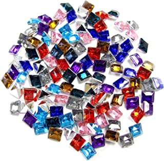 Linpeng Linpeng 6x6MM Assorted Colors Faceted Square Acrylic Gems - no.O- Approx. 100 Pcs/Pack, Acrylic Gems-O, 6 x 6mm
