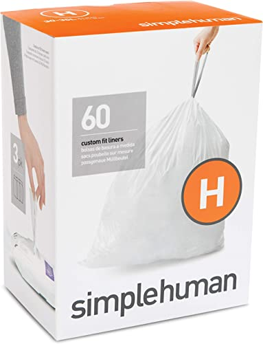 simplehuman Code H Custom Fit Drawstring Trash Bags, 60 Pack, White, 60 Count