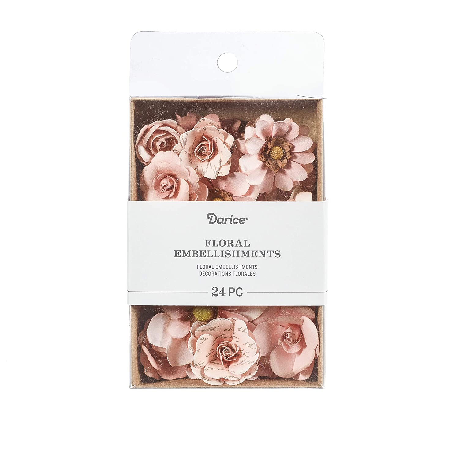 Darice 30061966 Mulberry Floral Embellishments: Pink, 1.75 inches, 24 Pack