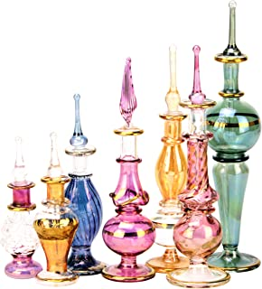 NileCart Egyptian Perfume Bottles Wholesale Mix Collection Set of 12 Hand Blown Decorative Pyrex Glass 2-5 in with Handmade Golden Egyptian Decoration for Perfumes & Essential Oils