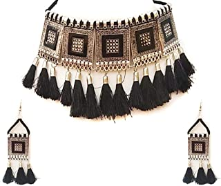 Total Fashion Oxidised Jewellery Afghani Style Black Thread Choker Necklace Set for Women & Girls