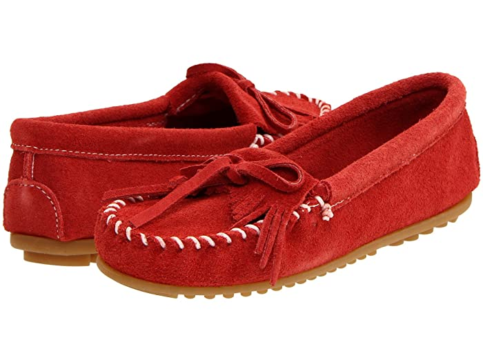Women's Vintage Shoes & Boots to Buy Minnetonka Kilty Suede Moc Red Suede Womens Moccasin Shoes $44.95 AT vintagedancer.com