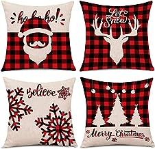 Whaline 4 Pieces Red Black Christmas Scottish Buffalo Checkers Plaid Pillow Case Santa Reindeer Snow X-mas Tree Cushion Cover, Cotton Linen Sofa Bed Throw Cushion Cover Decoration (18