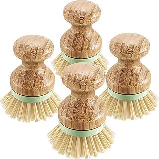 Liseng Cepillo de Fregar de Bambú de 4 Piezas Cerdas de Cepillos para Ollas Fregadora de Platos para SartéN de Hierro Fundido, Fregadero de Cocina, Ba?O, Limpieza del Hogar