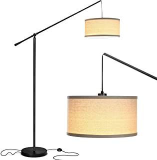 Brightech Hudson 2 - Contemporary Arc Floor Lamp Stands Up Over the Couch From Behind - Hanging Pendant Light, Alexa Compatible - Mid Century Modern Living Room Lamp - With LED Bulb - Jet Black