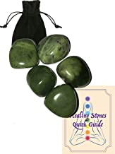 Five (5) Tumbled Green Canada Jade Gem Stones Approx. 25mm ea Healing Gem Stones Heart Chakra Attraction Luck Healing Energy with Black Pouch and Healing Stone Quick Guide