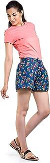 Handicraft-Palace Blue Floral Printed Shorts Shorts Sport wear Every Night Sleep Shorts Hot Pants Beach Shorts