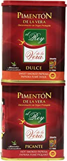Artisan Spanish smoked paprika, Pimenton from La Vera region. Hot and Sweet. Set of 2 tins.