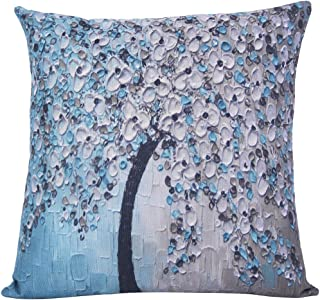 ChezMax Flat Printed 3D Oil Painting Effect Home Decorative Cotton Linen Throw Pillow Cover Cushion Case Square Pillowslip for Bedding Sofa Lake Blue 45 X 45 cm