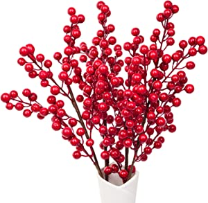 Artiflr 4 Pack Artificial Red Berry Stems Holly Christmas Berries for Festival Holiday Crafts and Home Decor, 17.2 Inches Burgundy Berry Floral Christmas Tree Decorations