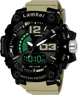 Lamkei Army Black Analouge Digital Khaki Silicon Strap Sport Watch for Men- AB-1023