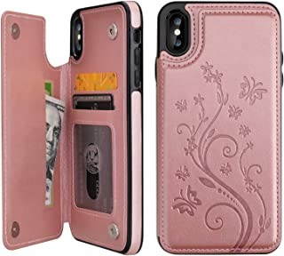 Vaburs iPhone Xs Max Wallet Case with Card Holder,  Embossed Butterfly Premium PU Leather Double Magnetic Buttons Flip Shockproof Protective Case Cover for iPhone Xs Max (6.5,  Rose Gold)