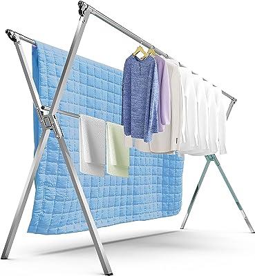 洗濯物干し 布団干し 物干し 伸縮式 折りたたみ式 ステンレス ものほしざお 屋外 室内 ベランダ 風に強い 錆びない 大容量 長さ調節可能 120-200cm 着地x型
