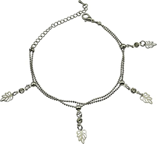 Sterling Silver Leaf Double Layer Charm Anklet for Women and Girls