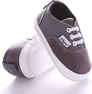 NOVCO Unisex Baby Sneakers Toddler Boys Girls Anti-Slip First Walkers Canvas Shoes 0-18Months