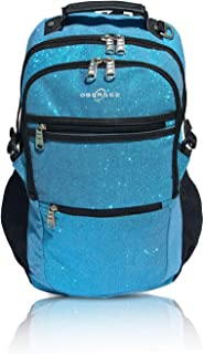 Sparkle Dance and Gymnastics Bag for Girls, Women, and Dancers, Comfy and Durable Backpack with Spacious Pockets and Laptop Compartment, Measures 7 in x 18 in x 12 in (Turquoise) - Obersee