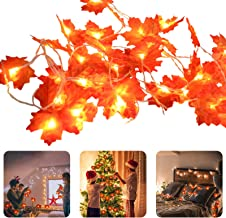 19.6 FT Fall Garland Maple Leaf Hanging Vine LED Maple Leaves Fairy Lights Artificial Autumn Garland for Home Wedding Fire...